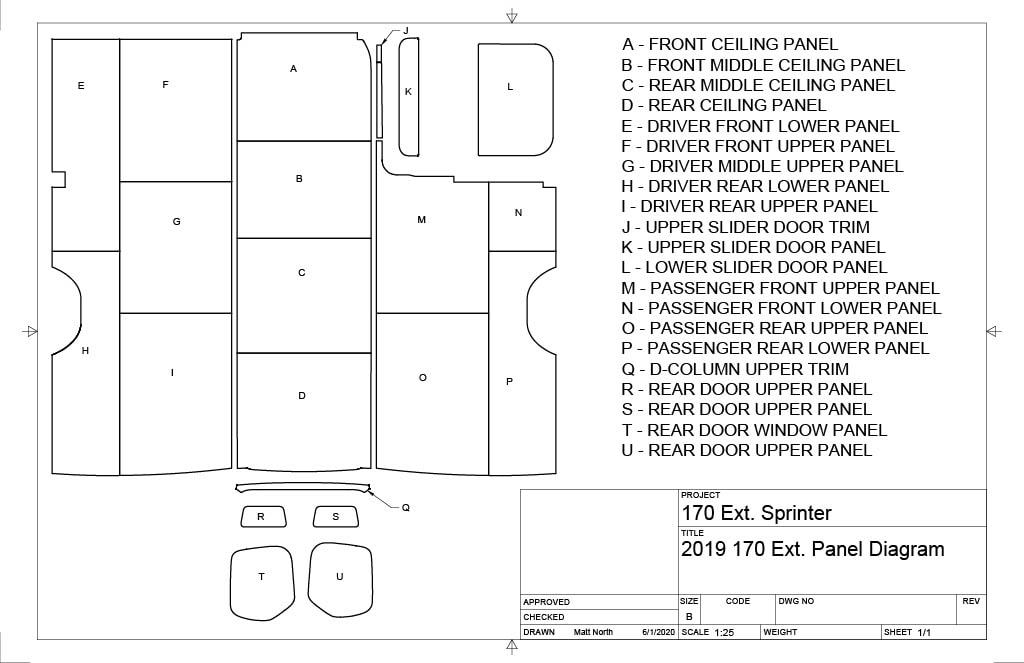Van Panels - Panel Kit - 170 Ext. Sprinter 2019 Diagram
