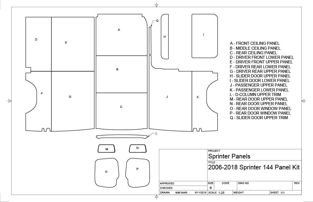 144 Sprinter 2006-2018 Panel Kit - Conversion Van Panels