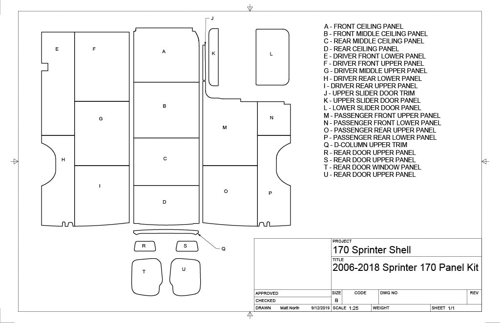 170 Sprinter 2006-2018 Panel Kit - Conversion Van Panels