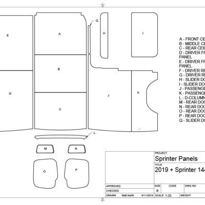 144 Sprinter 2019 Panel Kit - Conversion Van Panels