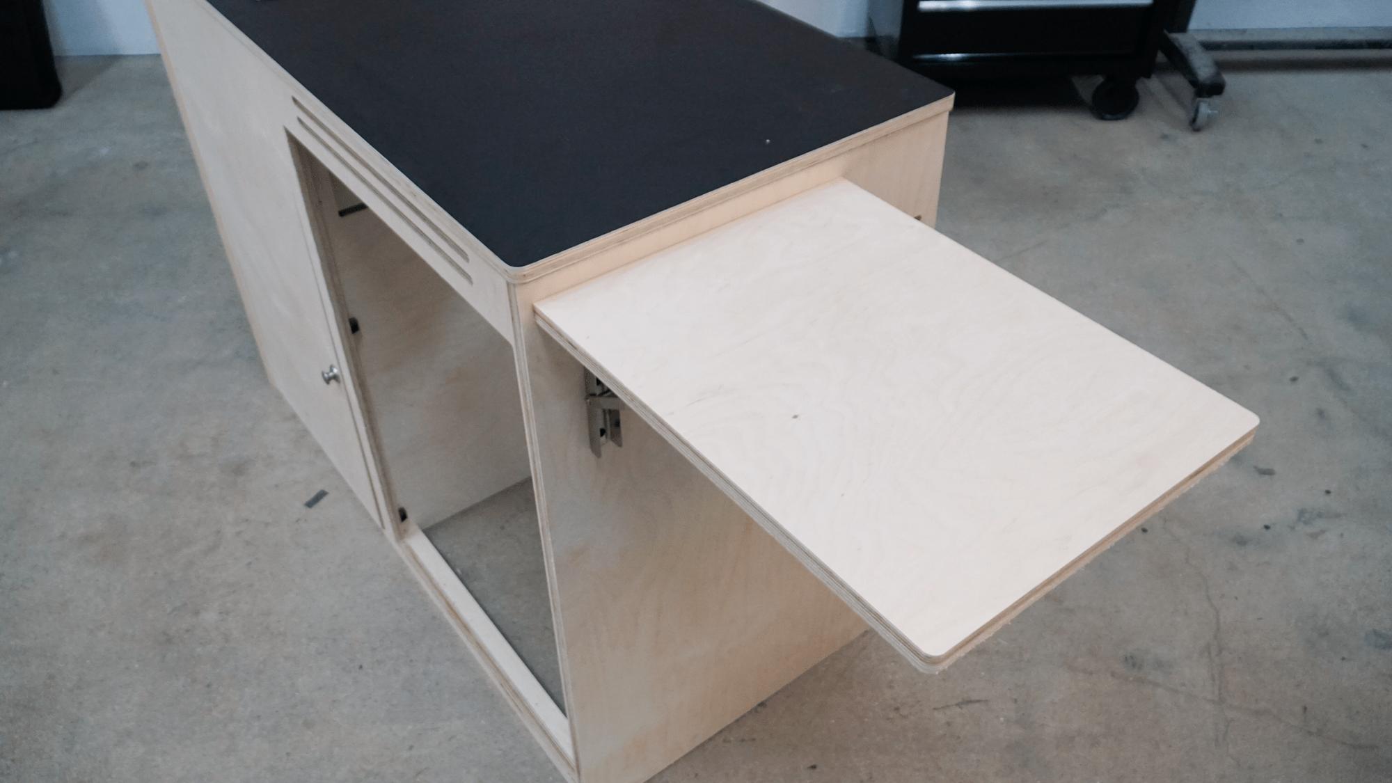 Flip up side table add on for van kitchen kit