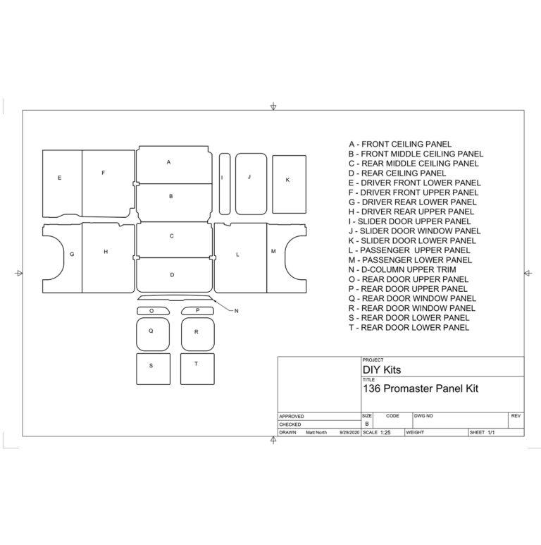 Van Interior Panels CAD Drawing Diagram