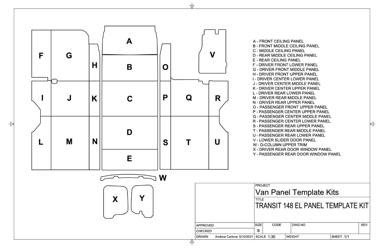 Diagram of Ford Transit 148EL panels